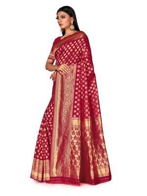 Mehrang Maroon Woven Banarasi Silk Saree with Blouse