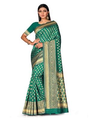 Mehrang Green Woven Banarasi Silk Saree with Blouse