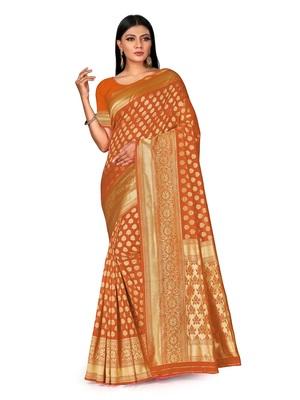 Mehrang Orange Woven Banarasi Silk Saree with Blouse