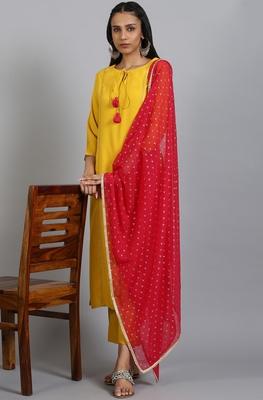 Yellow plain rayon salwar