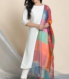 Off-white lace faux silk salwar