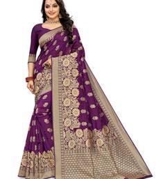 Mehrang Purple Woven Banarasi Silk Saree with Blouse