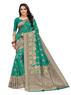 Mehrang Rama Woven Banarasi Silk Saree with Blouse