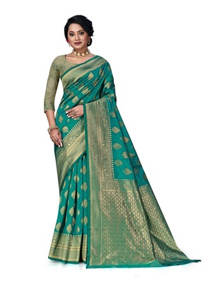 Mehrang Rama Woven Banarasi Silk Saree with Blouse