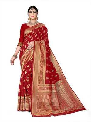 Mehrang Red Woven Banarasi Silk Saree with Blouse