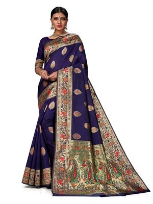 Mehrang Blue Woven Banarasi Silk Saree with Blouse