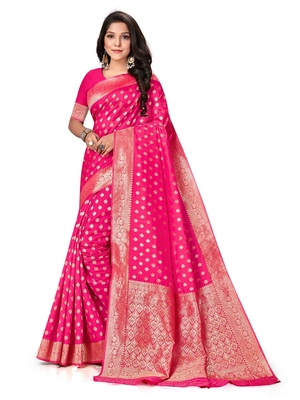 Mehrang Pink Woven Banarasi Silk Saree with Blouse