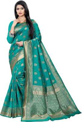 Mehrang Green Woven Banarasi Silk Saree with Blouse