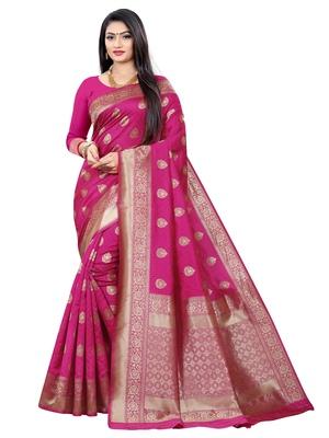 Mehrang Pink Woven Banarasi Silk Saree with Blouse