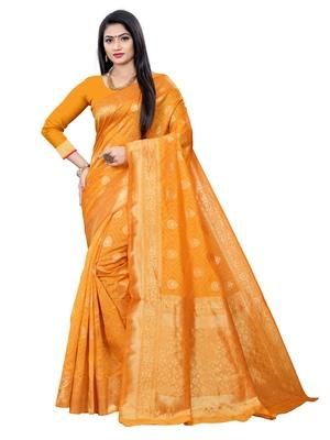 Mehrang Yellow Woven Banarasi Silk Saree with Blouse