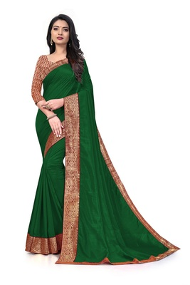 Mehrang Green Vichitra Silk Saree with Blouse