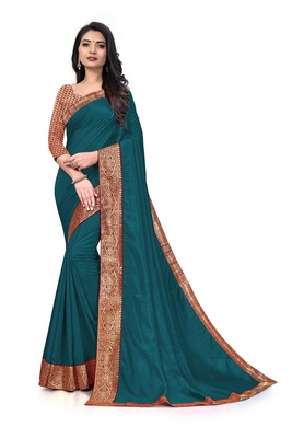 Mehrang Turquoise Blue Vichitra Silk Saree with Blouse