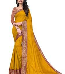 Mehrang Yellow Vichitra Silk Saree with Blouse