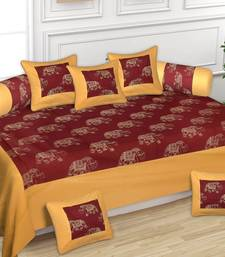 RIDAN COTTON GOLDEN PRINT DIWAN SET WITH ONE BED SHEET TWO BOLSTER COVER AND FIVE CUSHION COVER