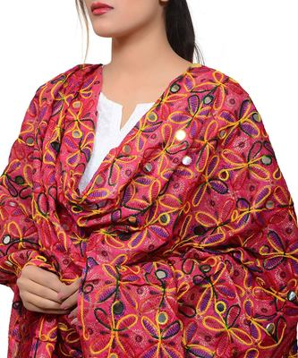 Hand embroidered kutch work designer multicolour dupatta
