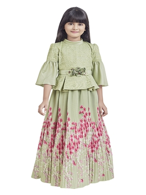 polyester printed kids-girl-gowns