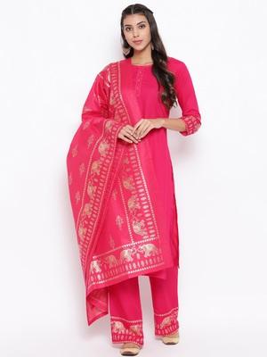 Rani-pink golden print rayon salwar