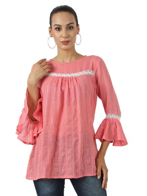 Pink plain viscose rayon party-tops