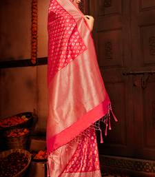 Dark peach woven silk saree with blouse