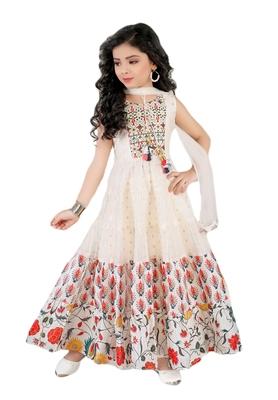 Salwar Studio Girls Off White Chanderi Cotton Ethnic suit set