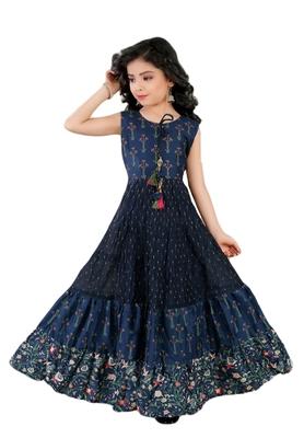Salwar Studio Girls Navy Blue Chanderi Cotton Ethnic suit set