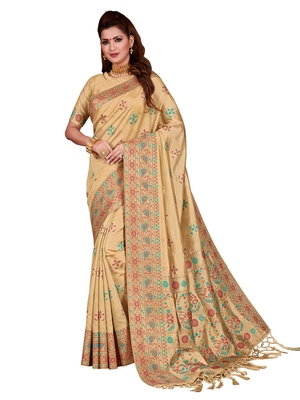 Cream woven tussar silk saree with blouse