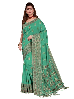 Green woven tussar silk saree with blouse