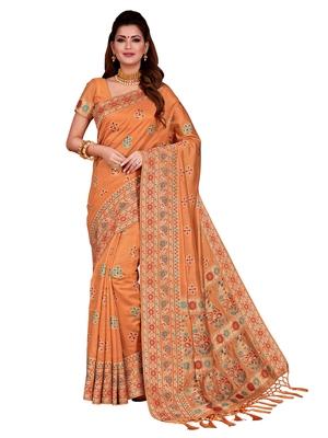 Orange woven tussar silk saree with blouse