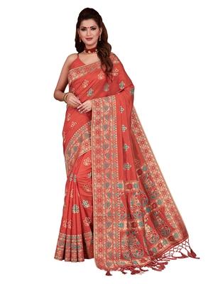 Peach woven tussar silk saree with blouse