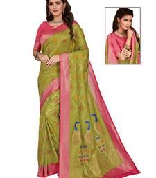 Mehendi woven silk saree with blouse