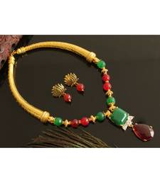 BEAUTIFUL GOLD TONE RED-GREEN AGATE LOTUS DESIGNER NECKLACE SET DJ28111