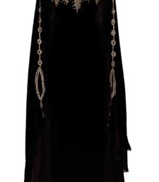 BLACK GEORGETTE EMBROIDERY ISLAMIC KAFTANS