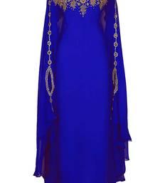ROYAL BLUE GEORGETTE EMBROIDERY ISLAMIC KAFTANS