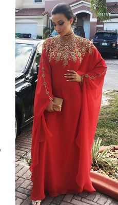 RED GEORGETTE EMBROIDERY ISLAMIC KAFTANS