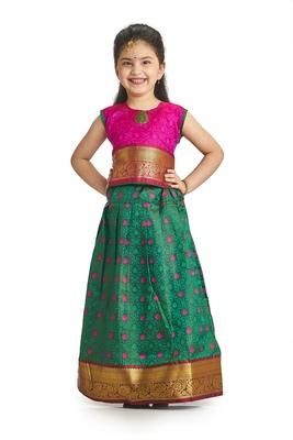 Bhartiya Paridhan Girls Traditional Ethnic Green Lehenga Choli