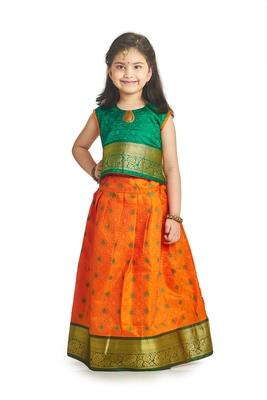 Bhartiya Paridhan Girls Traditional Ethnic Orange Lehenga Choli