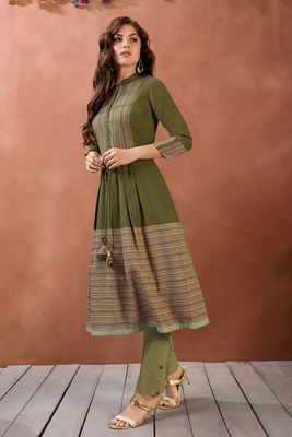Navraj Women's Green Cotton Printed with Button Details Stitched Flared Kurta with Bottom Sets