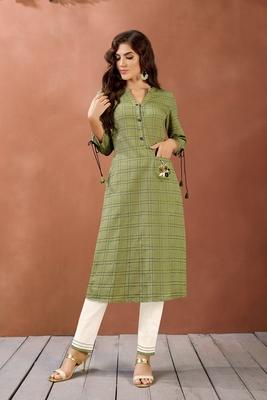 Navraj Women's Green Checkered Cotton Hand Work Kurta with Bottom Sets