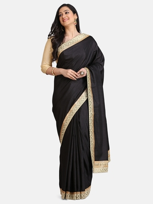 Black Jacquard Lace Georgette  Saree With Blouse