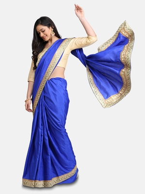 Royal Blue Jacquard Lace Grorgette Saree With Blouse