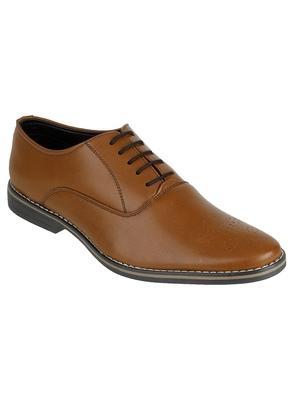 Vardhra Men's Brown Synthetic Leather Derby Leather Half Brogue Shoes