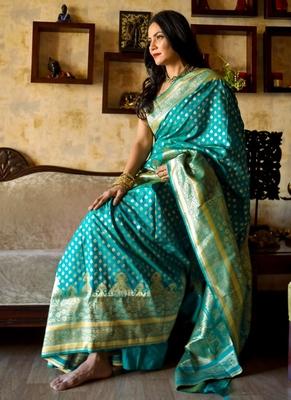 Teal Green Pure silk Traditional Saree