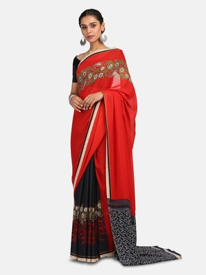 Multicolour Printed Georgette Saree With Blouse