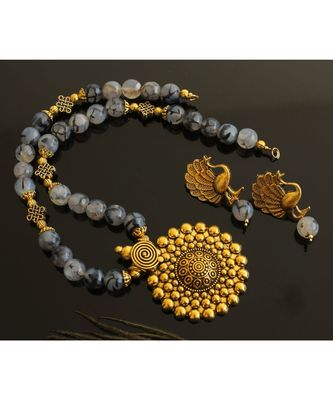 BEAUTIFUL GOLD TONE GREY AGATES DESIGNER NECKLACE SET DJ28143