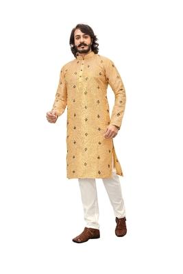 Yellow embroidered art silk kurta-pajama