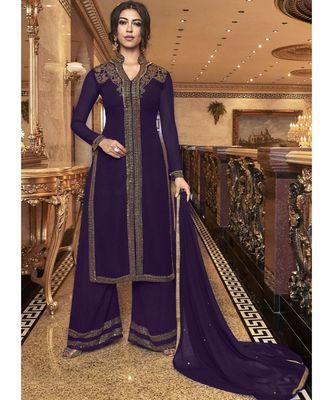 Violet Georgette Pakistani Salwar Kameez