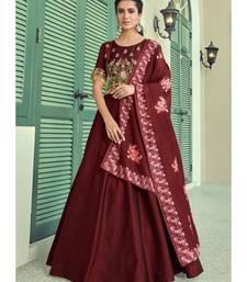 Maroon Silk Blend Anarkali Salwar Kameez