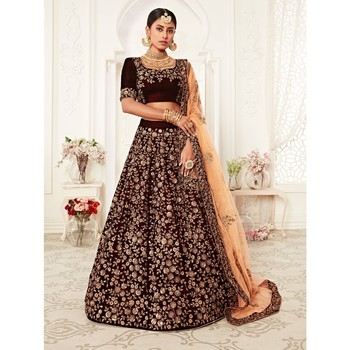Maroon thread embroidery velvet semi stitched lehenga