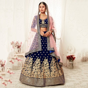 Navy-blue thread embroidery velvet semi stitched lehenga