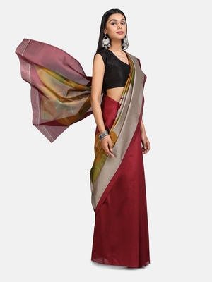 Maroon Printed Poly Silk Saree With Blouse